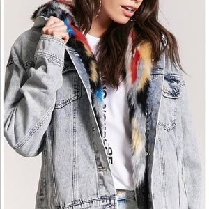 Jean Jacket With MultiColored Fur